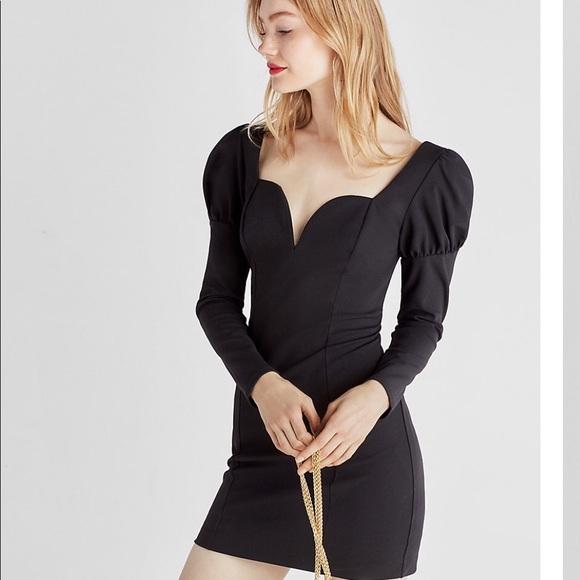 daa3aa86 Express Dresses | Puffed Shoulder Sheath Dress | Poshmark